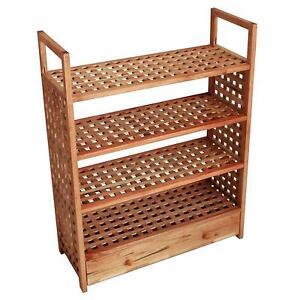 4 tier wooden shoe rack