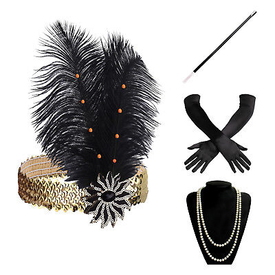 1920s Accessories Set Flapper Costume for Women Roaring 20s - Flapper Costume For Women