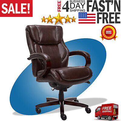 La Z Boy Bellamy Executive Chair Bonded Leather Brown Foam Cushions 45783 New
