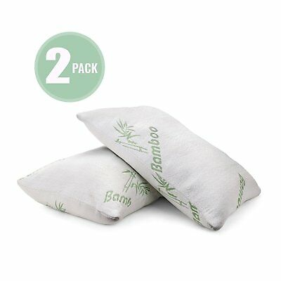 Plixio Bamboo Shredded Memory Foam Pillow with Hypoallergenic Cover 2 Pack - Bam Bamboo