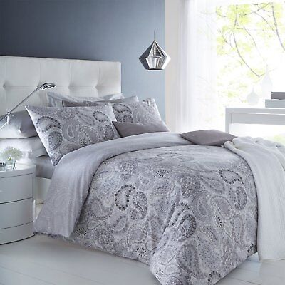 Paisley Grey Super King Size Bed Bedding Set Duvet Quilt Cover And Pillowcases