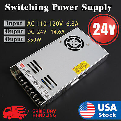 Mean Well Lrs-350-24 Power Supply 24v 14.6a 350w Input 110v220v Ac To Dc
