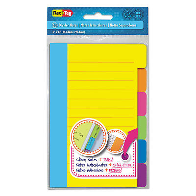 Redi-tag Divider Sticky Notes With Tabs Assorted Colors 60 Sheetsset 3 Setsbox
