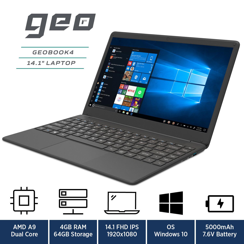 "Laptop Windows - GeoBook 4 14"" Laptop Windows 10 AMD A9, 64GB eMMC, 4GB RAM Geo Book"