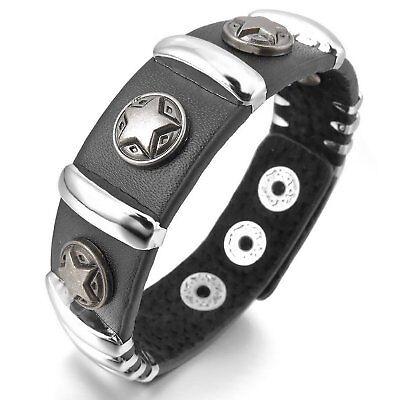 MENDINO Men's Alloy Leather Bracelet Wide Buckle Cuff Pentagram Star Bangle