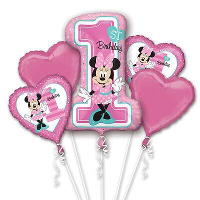 Minnie Maus Groß 1st Geburtstag Ballon Bukett Alter 1 Party Dekoration ()