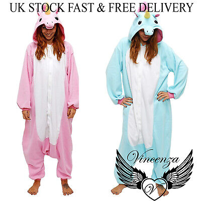 Unicorn Halloween Costume Uk (Women Unisex Adult Pink Large tail Unicorn Christmas Pajamas Halloween)