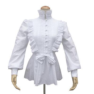 Renaissance Pirate Women Pleated White Top Cotton Shirt Victorian Vintage Blouse - Renaissance Shirts For Women