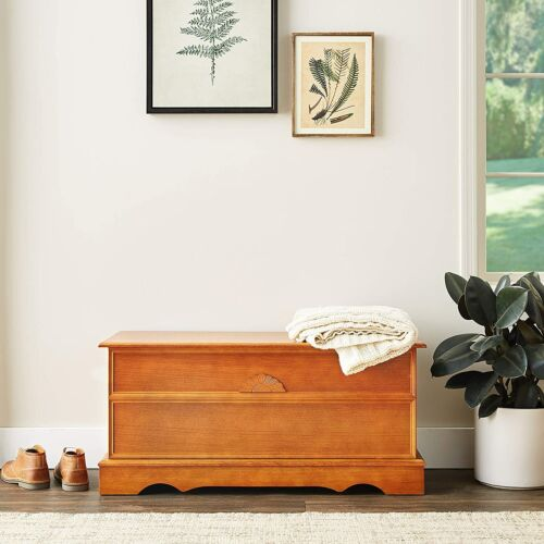 Coaster Rectangular Cedar BlanketChest With Sunflower MotifHoney 4695