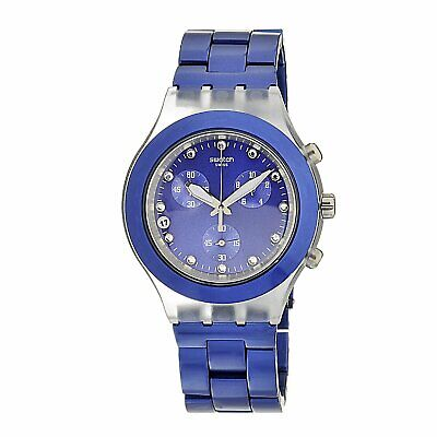 Swatch Men's SVCK4055AG Quartz Blue Dial Chronograph Plastic Aluminum Band Watch