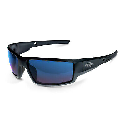 Crossfire Cumulus Premium Safety Glasses Black Frames Blue Mirror Lens 41626