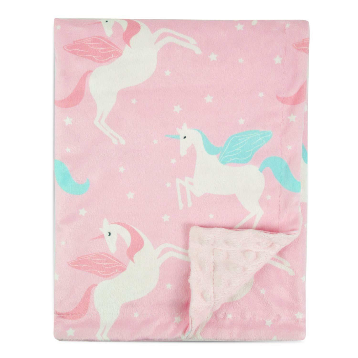 Boritar Unicorn Baby Blanket for Girls Soft Minky with Doubl