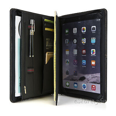 Goatskin Leather Portfolio Zippered Padfolio Case Organizer Card Holder Folder