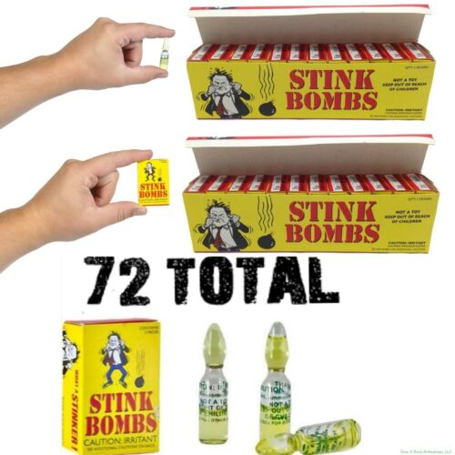 (72) STINK BOMBS Glass Vials - Fart Bomb Gag Prank Pooter Rotten Eggs