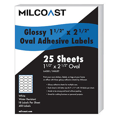 Milcoast Glossy Adhesive 1-12 X 2-12 Oval Labels - 450 Labels 25 Sheets