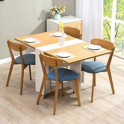 CTF Oak & White Colour Folding Expandable 2-4 Seater Dining Table with Gateleg