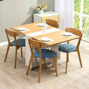 Ctf Oak White Colour Folding Expandable 2 4 Seater Dining Table With Gateleg
