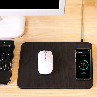 Mauspad mit Wireless Induktions Ladegerät Qi Lader - Ladefunktion Charger 1.5 A Wireless Pad