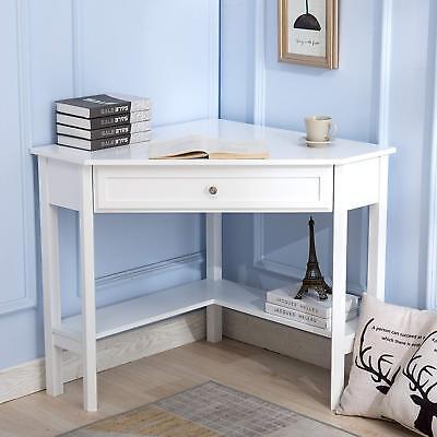 White Corner Computer Desk Laptop Workstation Table Home Office Furniture