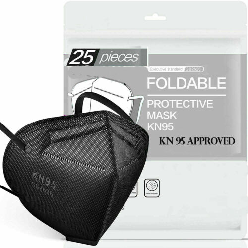 50/100 Pcs Black Kn95 Protective 5 Layer Face Mask Bfe 95% Disposable Respirator