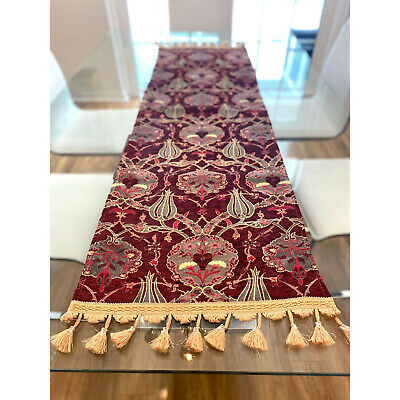 New Turkish Traditional Table Runner Patterned Red