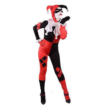 Harley Quinn Cosplay Halloween Costume Fancy Dress Full Bodysuit Zentai Spandex](Harley Quinn Spandex Costume)