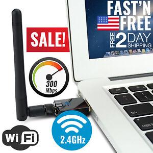 USB WiFi Adapter 300Mbps Dongle Card Wireless Network Laptop Desktop PC Antenna