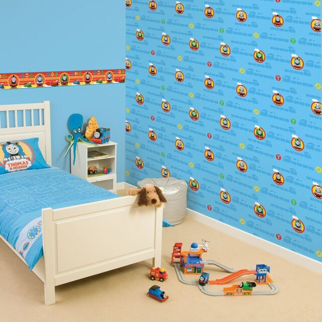 Thomas The Tank Engine Blue Kids Wallpaper No1 Boys Bedroom Decor | eBay