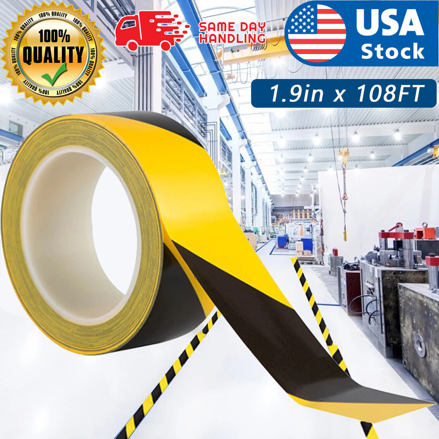 1.9in x 108FT Black Yellow Safety Warning Caution Conspicuity Tape Strip Sticker Business & Industrial