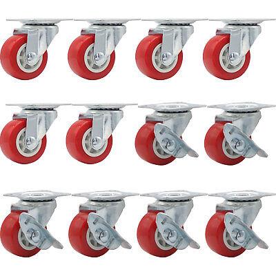 Lot Of 12 1.5 Low Profile Caster Wheels Rubber Swivel W Side Brake Red Combo