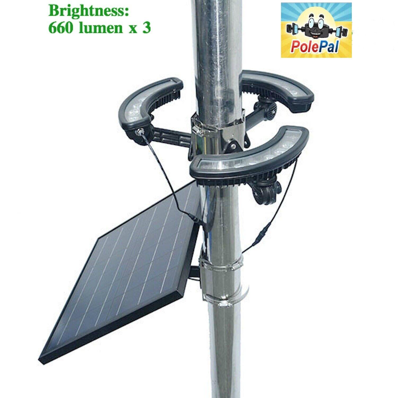 Solar Flagpole Light Polepal Tri-Light Commercial USA Flag E