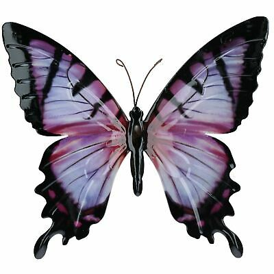 Pink & Black Metal Butterfly Garden/Home Wall Art Ornament 35x32cm ()