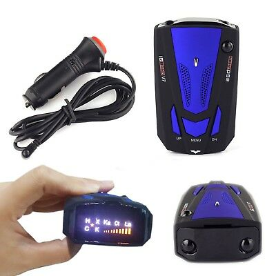 360 درجة سيارة 16 الفرقة V7 GPS سرعة السلامة الرادار الكاشف تنبيه صوتي ليزر LED