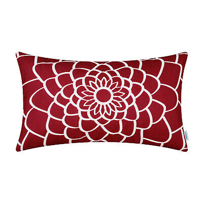 CaliTime Bolster Pillow Cover Case Dahlia Floral Outline Home Decor 12x20 Inches