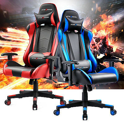 Gt Racing Chair Adjustable Leather Gaming Chair High Back Recline Office Chair