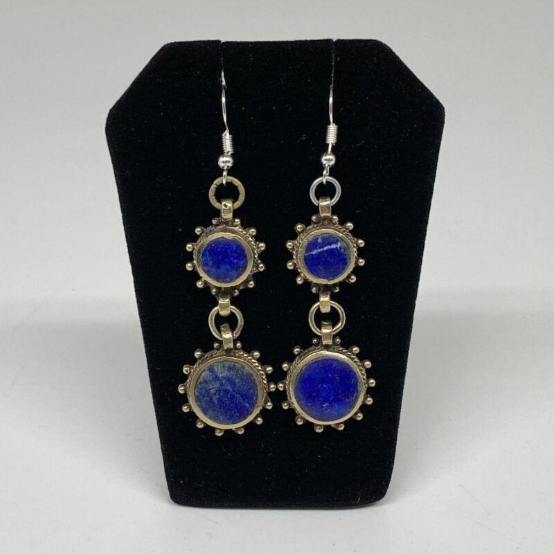 Turkmen Earring Afghan Ethnic Tribal Blue Lapis Lazuli Inlay Earring Handmade TE