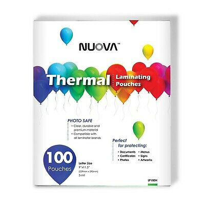 Nuova Premium Thermal Laminating Pouches 9 X 11.5 Letter Size 3 Mil 100 ...