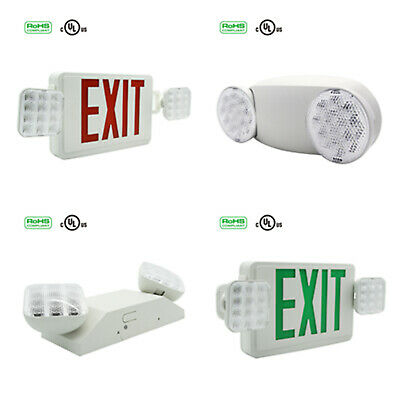 Led Emergency Light Exit Sign Combo Lamp Adjustable Twin Heads W Battery Backup