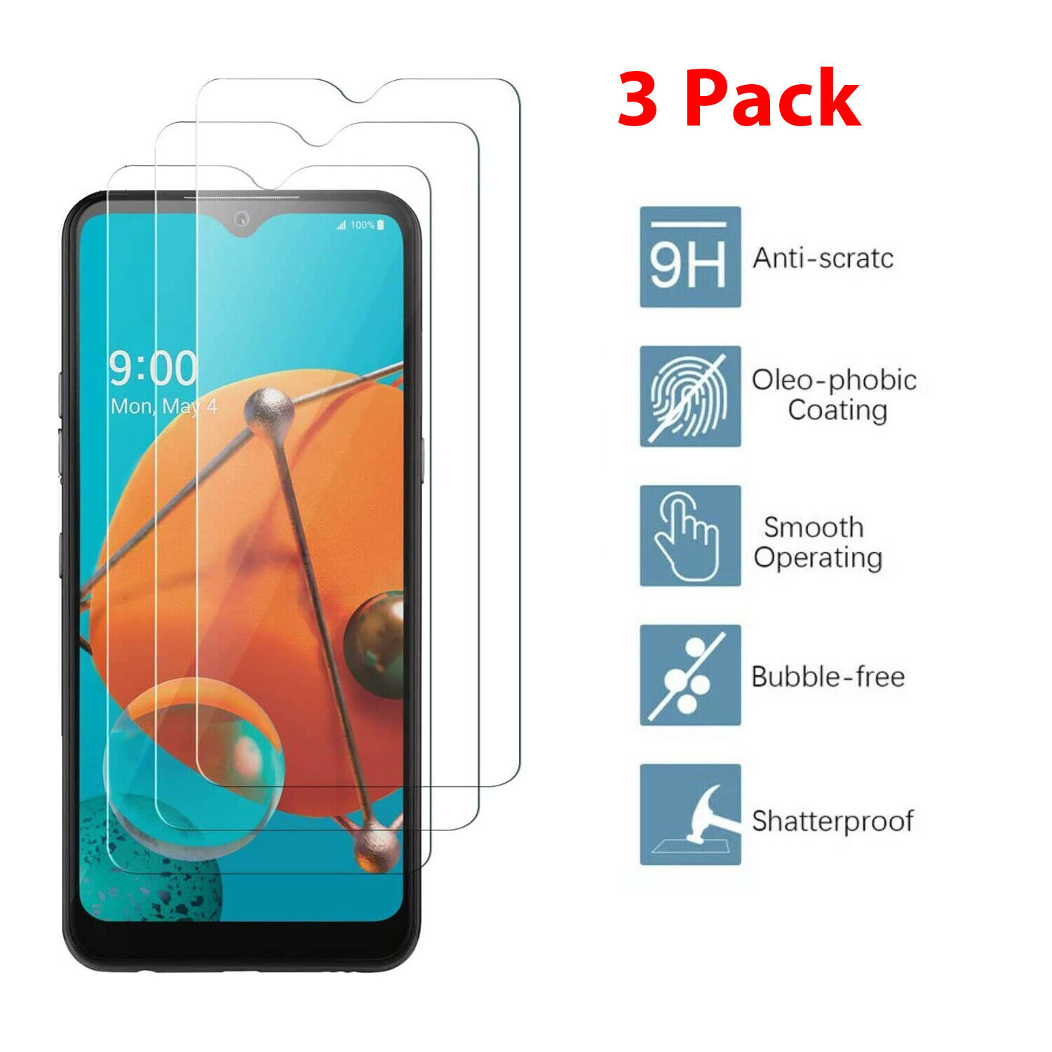 3 Pack Real Premium HD Tempered Glass High Clear Screen Protector for LG K51 Cell Phone Accessories