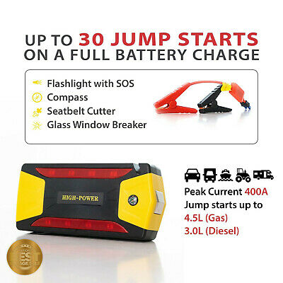 DE Jump Starter and Power Station Flashlight, Glass Breaker, Phone Charger