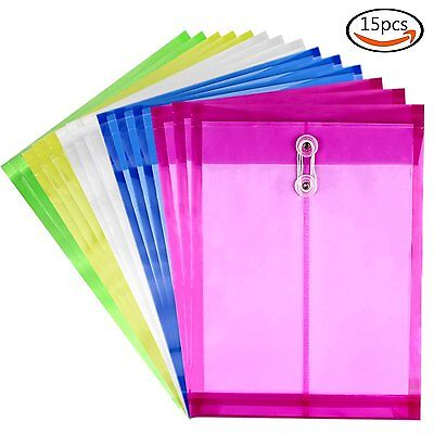 15pcs Colorful Plastic Document Organizer Poly String Envelope File Folders A4