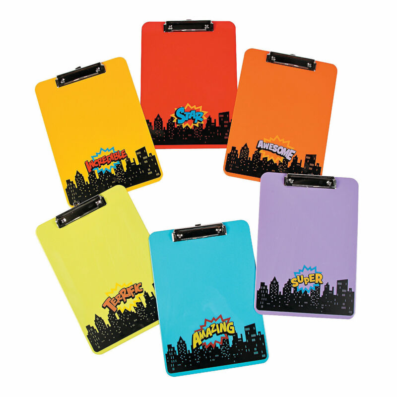 Superhero Clipboards - Stationery - 6 Pieces