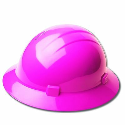 Construction Hat In Pink Work Safety Helmet Sun Protection Ratchet Full Brim New