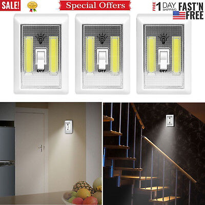 Closet Light Switch (3 PCS COB LED Wall Switch Wireless Battery Operated Closet Cordless Night)