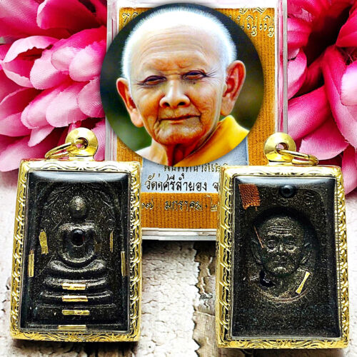 8559 Somdej Thai Amulet Lp Hong Money Richly Windfall Golden 9 Takud Leklai 2550