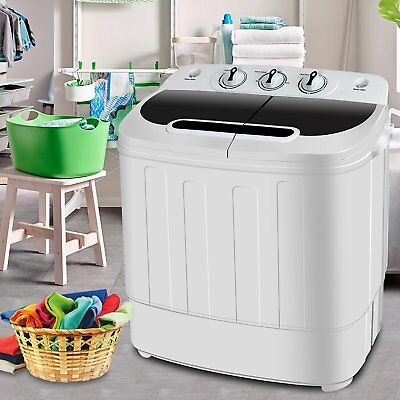 Top Burden Mini Washing Machine Compact Twin Tub 13lb Washer Spin & Dryer, White