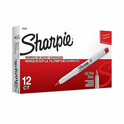 Sharpie Ultra Fine Point Red Permanent Marker 12 Each 37002