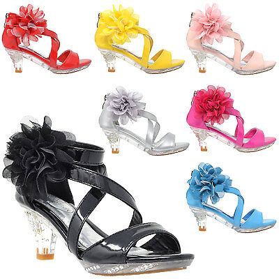 Girl's Sandals High Heel Dress Rhinestone Strappy Patent Leather Flower Kid Shoe](High Heel Shoes Kids)