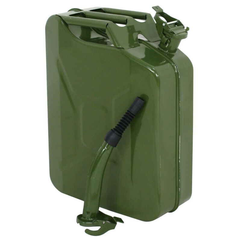 Jerry Can 20L Liter (5 Gallon Gal) Backup Steel Tank Fuel Gas Gasoline Green