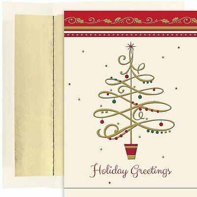 Masterpiece Studios Boxed Holiday Cards 18-Count, Swishy Christmas Tree (853500)